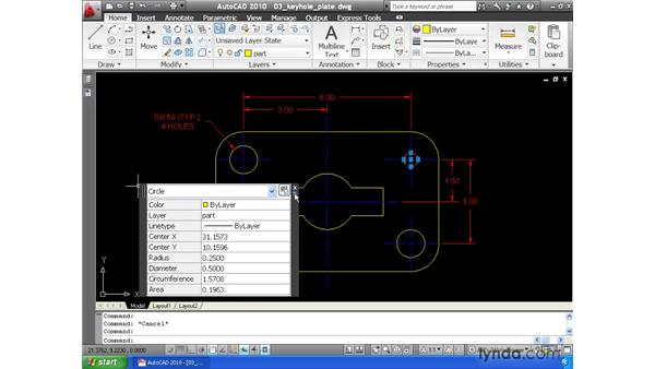 Modifying properties using the Quick Properties tool: AutoCAD 2010 Essential Training