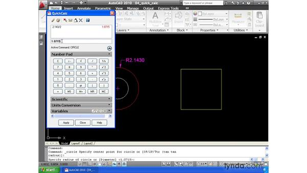 Automating calculations using the Quick Calculator feature: AutoCAD 2010 Essential Training