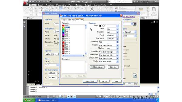 Selecting a pen table: AutoCAD 2010 Essential Training