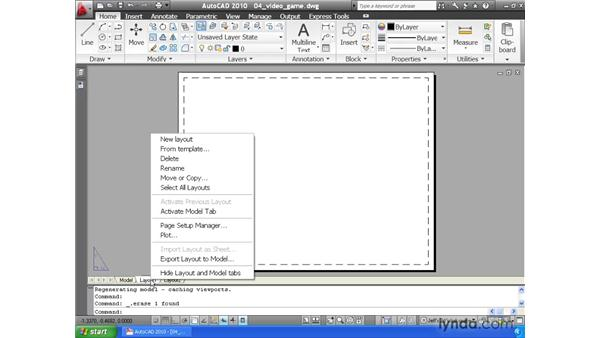 Creating a layout pt. 1: Choosing a paper size: AutoCAD 2010 Essential Training