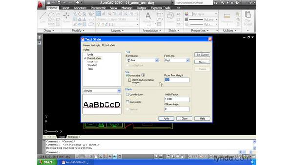 Using the Annotative property to automatically size text: AutoCAD 2010 Essential Training