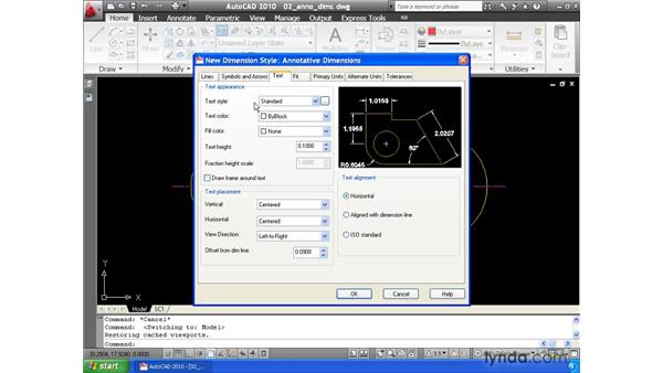 Using the Annotative property to automatically size dimensions: AutoCAD 2010 Essential Training