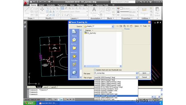 Saving drawings to other formats: AutoCAD 2010 Essential Training