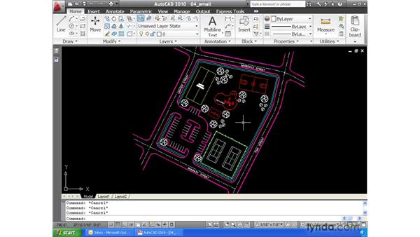 Sending drawings via email: AutoCAD 2010 Essential Training