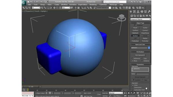 The Boolean commands: 3ds Max 2010 Essential Training