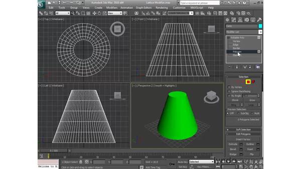 Using the lattice modifier: 3ds Max 2010 Essential Training