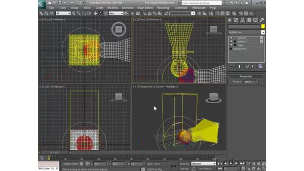 Applying modifiers at the sub-object level: 3ds Max 2010 Essential Training