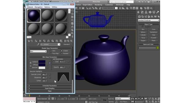 Adding and controlling shine: 3ds Max 2010 Essential Training