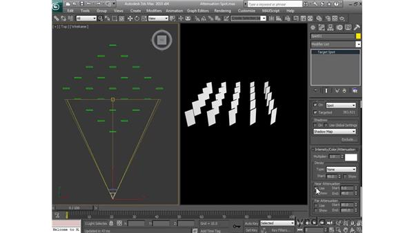 Adjusting how far a light shines: 3ds Max 2010 Essential Training