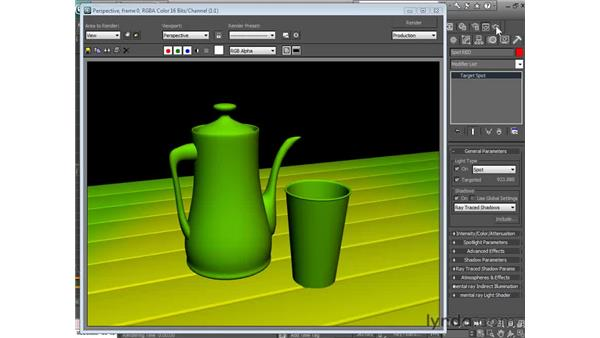 Excluding objects from light: 3ds Max 2010 Essential Training