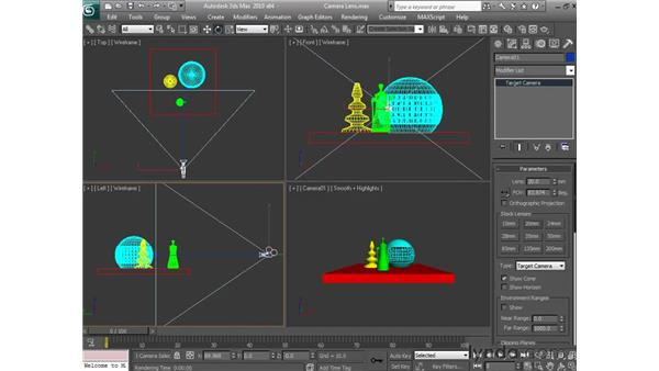 Changing a camera's lens length: 3ds Max 2010 Essential Training