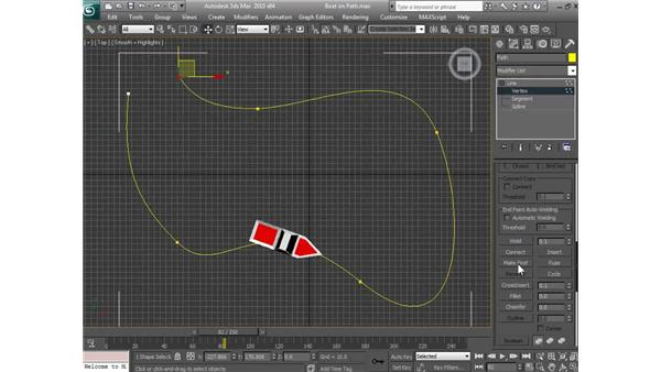 Animating an object along a path: 3ds Max 2010 Essential Training