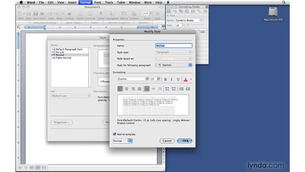 Changing default font style settings: Office 2008 for Mac: Small Business Projects