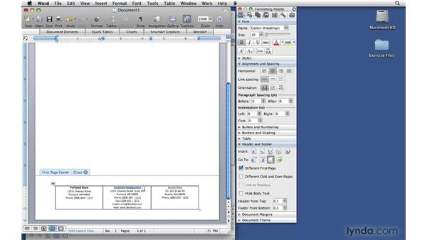 Setting basic letterhead options: Office 2008 for Mac: Small Business Projects