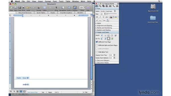 Adding a second page to the letterhead: Office 2008 for Mac: Small Business Projects