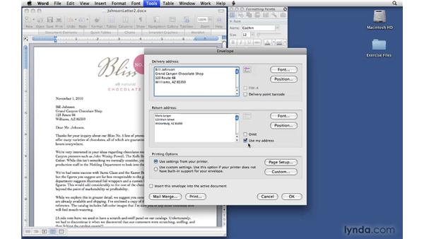 Creating envelopes from letters: Office 2008 for Mac: Small Business Projects