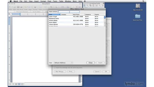 Creating envelopes on the fly: Office 2008 for Mac: Small Business Projects