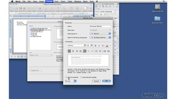 Customizing the normal template for envelopes: Office 2008 for Mac: Small Business Projects
