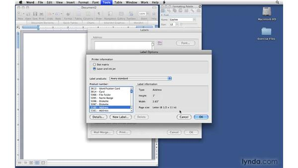 Using the Label tool: Office 2008 for Mac: Small Business Projects