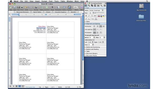 Formatting the text and adding a logo: Office 2008 for Mac: Small Business Projects