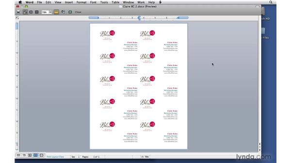 Finishing up the cards: Office 2008 for Mac: Small Business Projects