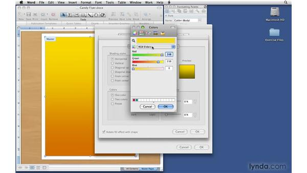 Changing background colors: Office 2008 for Mac: Small Business Projects