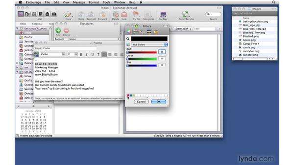 Creating e-mail signatures: Office 2008 for Mac: Small Business Projects