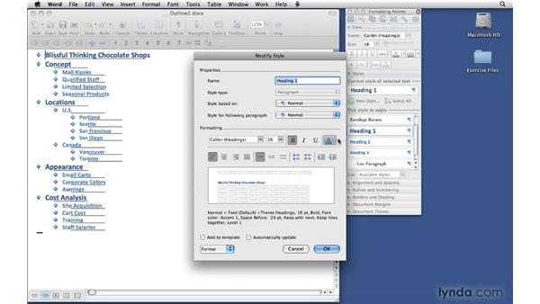 Formatting the document: Office 2008 for Mac: Small Business Projects