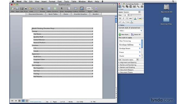 Adding a title page and a table of contents: Office 2008 for Mac: Small Business Projects