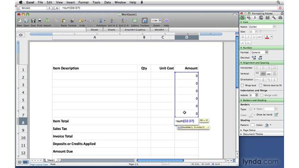 Creating the Excel invoice: Office 2008 for Mac: Small Business Projects