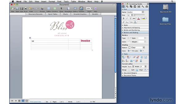 Preparing the Word invoice: Office 2008 for Mac: Small Business Projects