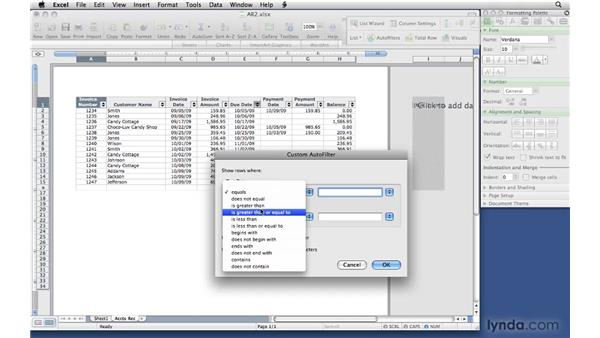 Sorting and filtering lists: Office 2008 for Mac: Small Business Projects
