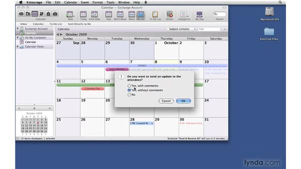Modifying scheduled events: Office 2008 for Mac: Small Business Projects