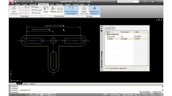 Adding expressions to dimensional constraints: AutoCAD 2010 New Features