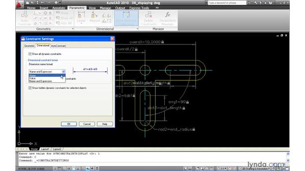 Controlling the display of dimensional constraints: AutoCAD 2010 New Features