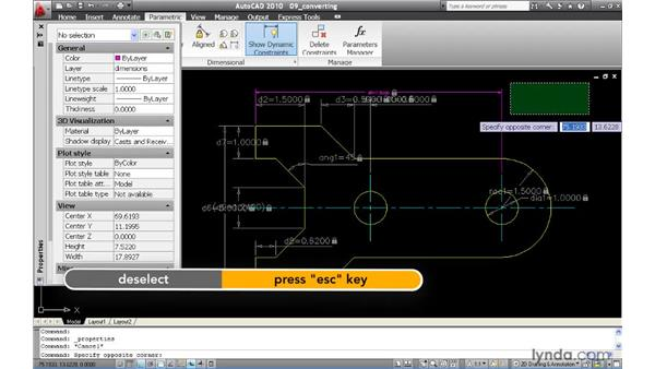 Converting dynamic constraints to annotation constraints: AutoCAD 2010 New Features