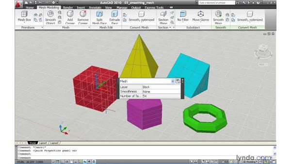 Smoothing the appearance of a mesh model: AutoCAD 2010 New Features