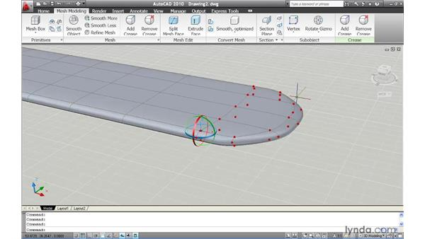 Using gizmos to mold and shape a mesh: AutoCAD 2010 New Features