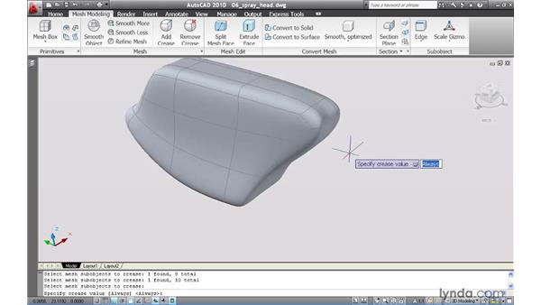Applying creases to a mesh: AutoCAD 2010 New Features