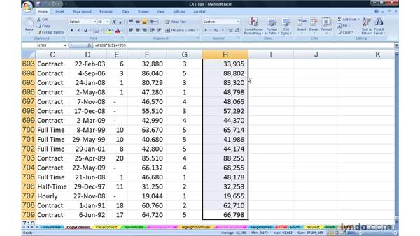Copying column formulas instantly: Excel 2007: Advanced Formulas and Functions