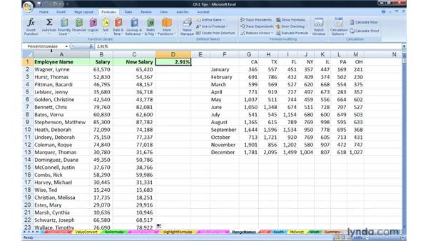 Creating range names to enhance readability: Excel 2007: Advanced Formulas and Functions