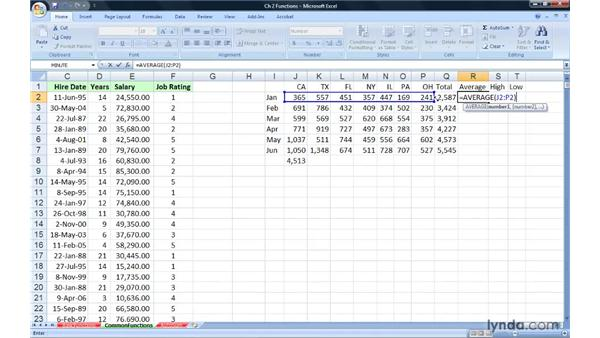 Using common functions: SUM, AVERAGE, MAX, and MIN: Excel 2007: Advanced Formulas and Functions