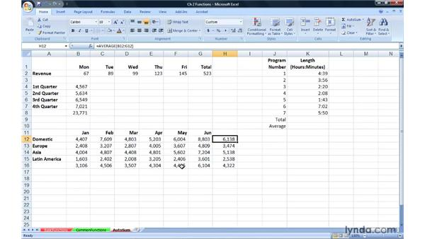 Using and extending AutoSum: Excel 2007: Advanced Formulas and Functions
