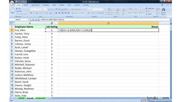 Creating and expanding the use of nested IFs: Excel 2007: Advanced Formulas and Functions