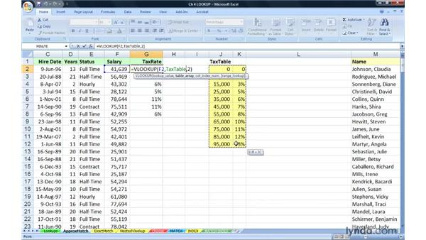 Using VLOOKUP for approximate matches: Excel 2007: Advanced Formulas and Functions