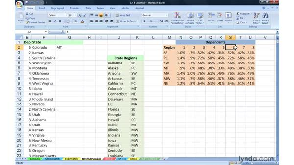 Nesting Lookup functions: Excel 2007: Advanced Formulas and Functions