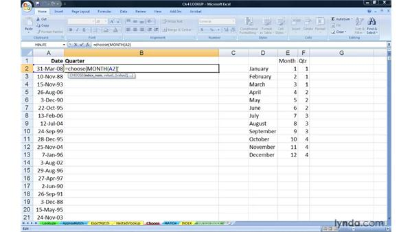 Finding table-like information within a function with CHOOSE: Excel 2007: Advanced Formulas and Functions