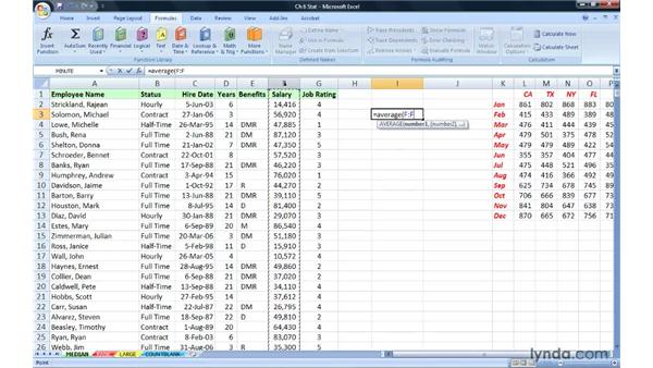 Finding the middle value with MEDIAN: Excel 2007: Advanced Formulas and Functions