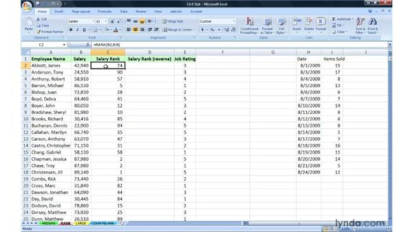 Ranking data without sorting with RANK: Excel 2007: Advanced Formulas and Functions