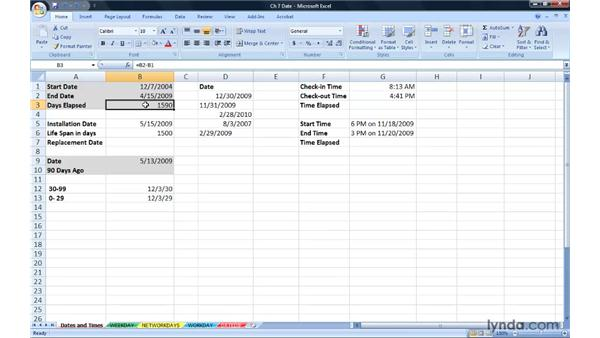 Understanding Excel date/time capabilities in formulas: Excel 2007: Advanced Formulas and Functions
